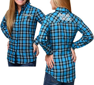 Forever Collectibles NFL Women's Carolina Panthers Check Flannel Shirt