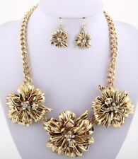 Antique Gold Flower Burst Crystal Centers Chunky  Necklace Set Fashion Jewelry