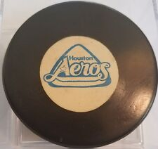 VINTAGE CONVERSE WHA HOUSTON AEROS OFFICIAL GAME PUCK RUBBER CREST scarce old