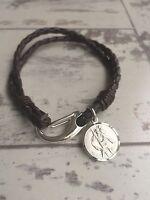 Men's Leather Bracelet - 925 STERLING SILVER CLASP & 925 SILVER ST CHRISTOPHER
