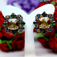NATURAL 10X10mm. GOLDEN YELLOW CITRINE DIOPSIDE & SAPPHIRE EARRINGS 925 SILVER