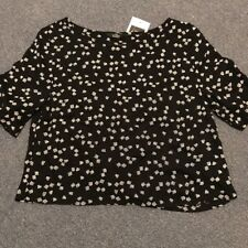 Women's Top Cropped Black With White Pattern Marks & Spencer Size 6 New With Tag