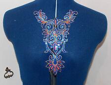 blue sequin HOTFIX embroidered lace YOKE chest applique motif costume asian