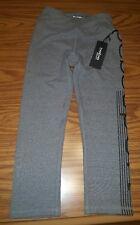NWT Bebe Sport Capri Leggings Logo Pants Yoga Running Grey Women's XS