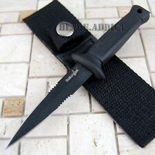 """6.5"""" Double Edge BLACK Military Combat Fixed Blade Boot Knife Throwing Dagger"""