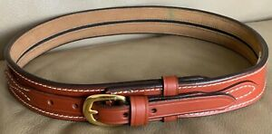 TWBC Brown Leather Pistol Police Belt - Varied Sizes - Hidden Coin Compartment