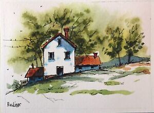 "ACEO Original Watercolor Line & Wash Landscape 2.5"" x  3.5"" House,Trees,Hill"