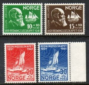 1941 NORWAY Colin Archer  NK 255-58 MNH