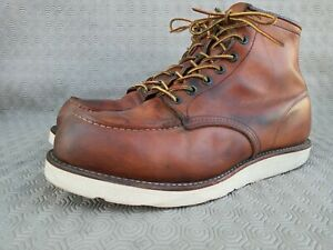 VINTAGE Red Wing 18382 Classic Moc Toe Men's Brown Leather Boots Size 9½ EE