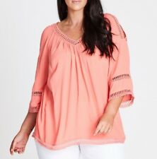 Plus Size Autograph Loose Fitting-V Neck Crochet Lace Insert Coral Top Size 16