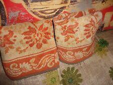 SPUGNA ITALIANA TERRACOTTA & CREAM FLORAL VELOUR (2) WIDE HAND TOWELS 44 X 28