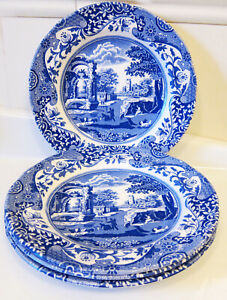 """SPODE BLUE ITALIAN DINNER PLATES SET OF 4 made in ENGLAND  10.5"""" New with Tag"""