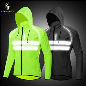 Cycling Rain Jacket Mens Hooded Waterproof Lightweight Coat Reflective Running