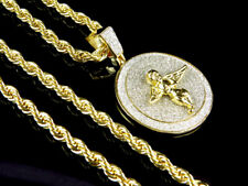 """Stylish Round Angel Coin Pendant 1.75"""" Mens Yellow Gold Brass with Diamond Cut"""