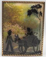 Vintage Reverse Painting Silhouette Children w/ Wagon Bubble Glass 6x8