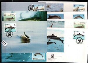 /// GUERNSEY 1990 - 4 FDC+MC - WWF - FISH, ANIMALS