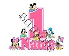 IRON ON TRANSFER PERSONALISED birthday ANY NAME NUMBER BABY MINNIE MICKEY MOUSE