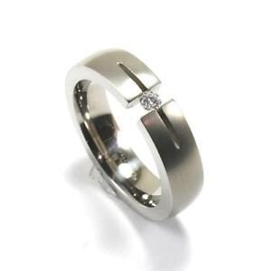 EDWARD MIRELL GRAY TITANIUM  .10CT DIAMOND MENS WEDDING BAND RING Sz10.5 R011A-D