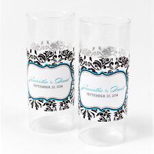 60 Love Bird Damask Personalized Mini Tealight Luminaries Candle Wedding Favors