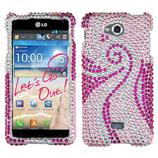 For MetroPCS LG Spirit 4G Crystal Diamond BLING Hard Case Phone Cover Pink Tail
