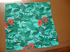Abraham silk handkerchief  Green with flame red flowers  NEW