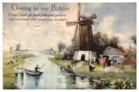 Antique colour printed postcard card Greeting for your Birthday river landscape