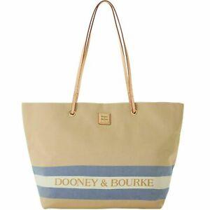 NWT $238 Dooney & Bourke Large Addison Canvas Tote Beige & Navy Blue