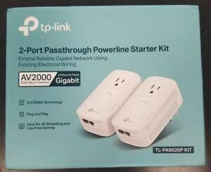 TP-LINK TLPA9020PKIT AV2000 2 Port Gigabit Passthrough Powerline Starter Kit NEW