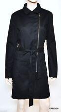 Nwt $378 Tahari HOLLAND Stretch Belted Dress Coat Jacket Parka Top Black L