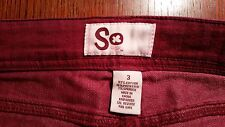 Jeans Juniors Womens stretches SO skinny red purple maroon size 3