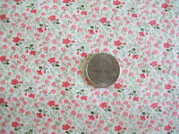 "Fabric remnant pink small print Floral 44"" W x 50""L cotton blend quilting sewing"