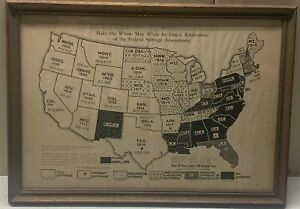 RARE Original 1919 WOMAN'S SUFFRAGE 19th Amendment UNITED STATES Pictorial MAP