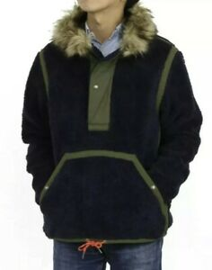 NWOT-POLO RALPH LAUREN Mens Navy SPECIAL EDITION Faux Fur Hood Pullover Jacket-L