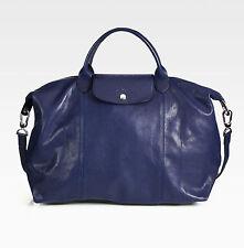 NWT LONGCHAMP Le Pliage CUIR Large Tote Leather Satchel Bag Navy Blue $640+