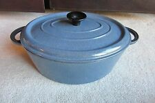 Made In France Oval Cast Iron With Blue Enamel Dutch Oven Cookware w/ Lid