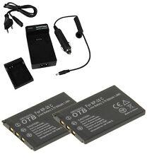 2 batterie + supporto di ricarica F Casio Exilim Card ex-s100 ex-s500