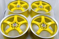 17 yellow Wheels Rims Soul Forte Integra Civic Element CRZ BRZ FRS 5x100 5x114.3