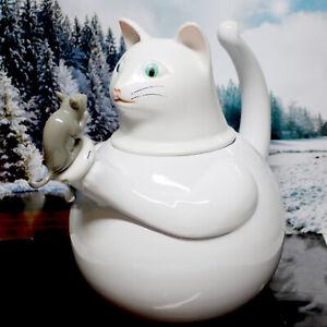 Vintage Cat & Mouse Tea Kettle by COPCO Harmonica Whistle 2.5 Quart White Enamel