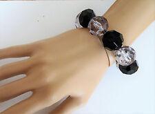 Fab Chunky Black and Smoky Bead Bracelet Elasticated Stretchy