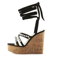 Women Cork Wedge Sky High Platform Sandals Strappy Ankle Wrap High Heel Shoes