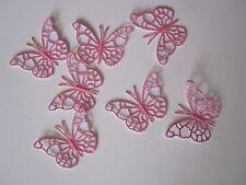 12 MINI 3D Die Cut Farfalla Topper Rosa Glitter/carta bianca
