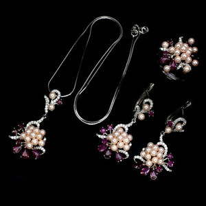 Pear Ruby 5x3mm Pearl Cubic Zirconia 925 Sterling Silver Ring Earrings Necklace