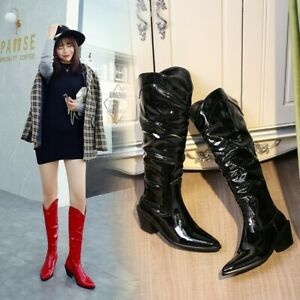Womens Patent Leather Pointed toe Mid Block Heel Wester Cowboy Knee High Boots