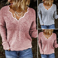 UK Womens Plus Size V Neck Sweatshirt Knitted Pullover Holiday Jumpers Top Shirt
