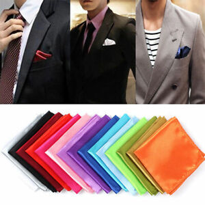 Men Silk Satin Pocket Square Hankerchief Hanky Plain Solid Color Wedding Party