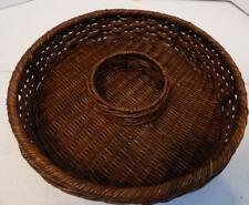 ROUND DARK BROWN WICKER CHIP AND DIP BASKET GAME DAY PARTY SERVER