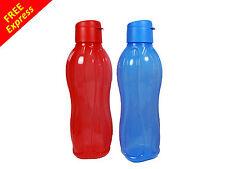 Tupperware Eco Drink Water Bottle (2) 1L Flip Top Lid in Blue & Red