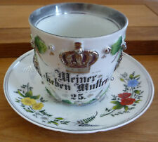 WW1 GERMAN CUP & SAUCER  WITH OF SOLDIERS - MY LOVE MOTHER WAR
