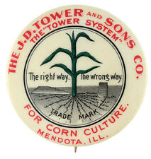 CORN CULTURE WITH THE TOWER SYSTEM CIRCA 1910 FARM BUTTON.