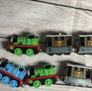 Lot 7 Thomas & Friends Magnetic Toy Train Cars 2002 Die Cast Percy Toby Salty